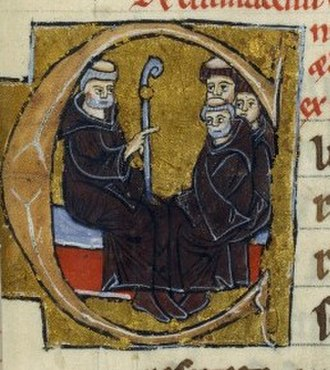 Criticism of Muhammad - Peter the Venerable, with other monks, 13th century illuminated manuscript