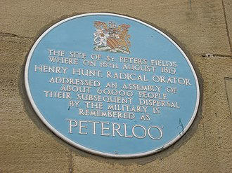Peterloo Massacre - Image: Peterloo plaque
