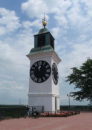 Petrovaradin Fortress - The clock tower, with its hands reversed so fishermen could better see the hour, is one of Novi Sad's major landmarks