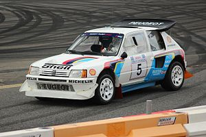 Group B -  The transverse mid-engine Peugeot 205 Turbo 16 E2 won Peugeot the 1985 and 1986 WRC manufacturers' titles.