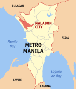 Map of Metro Manila with Malabon highlighted