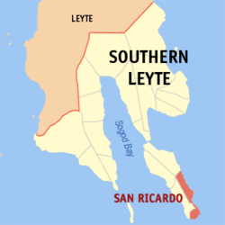 Map of Southern Leyte with San Ricardo highlighted