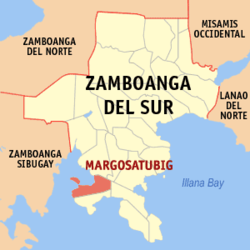 Map of Zamboanga del Sur with Margosatubig highlighted