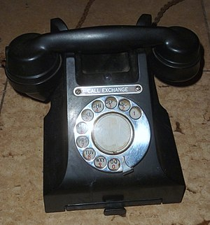 Rotary dial - Phone with letters on its rotary dial (1950s, UK)