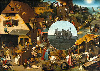 Painting of a busy village scene; a detail in the background of a procession of three blind men is highlighted