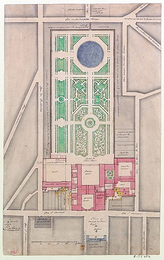 Palais-Royal - General site plan by François d'Orbay, 1692