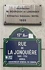 Plaque de rue et date d'architecte Bourgade et Londisky.JPG