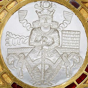 Plate of the Sasanian king Khosrow I Anushirvan.jpg