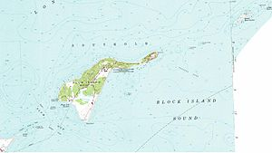 Great Gull Island - Excerpt of 1954 USGS Map, Great Gull Island is in upper right portion.  Westward lies Plum Island, and Orient Point at the bottom left.
