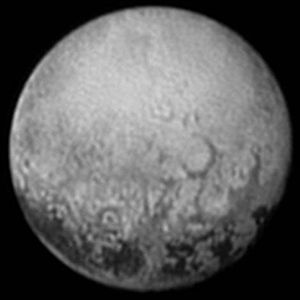 Geology of Pluto - Polygonal feature north of the dark equatorial regions on Pluto (11 July 2015)