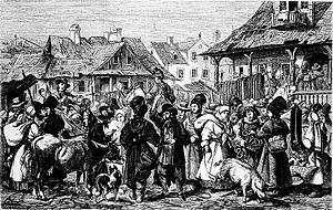 Podolia Governorate - A market scene in Podolia, c. 1864