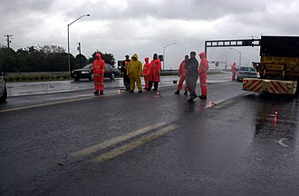 Chesapeake Bay Bridge - Police block traffic leading up to the Bay Bridge during Hurricane Isabel due to high winds.