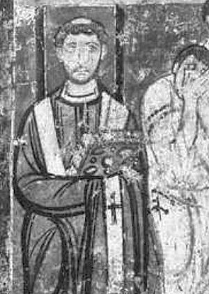 Pope Leo IV - 9th-century fresco in the basilica of S. Clemente, Rome.