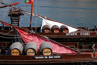 Port wine - A barco rabelo carrying some Port wine barrels.