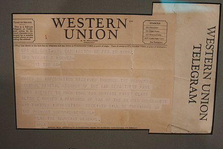 Telegram notifying parents of an American POW of his capture by Germany Pow telegram.jpg