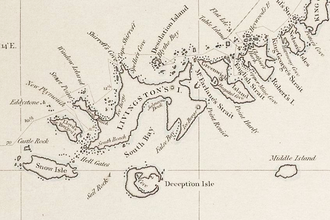 Fragment of George Powell's 1822 chart of the South Shetland Islands Powell-Chart-1822.png