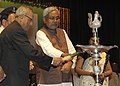 Pranab Mukherjee lighting the lamp at the Launching Ceremony of Agriculture Road Map of Bihar (2012-2017), at Patna, in Bihar on October 03, 2012. The Chief Minister of Bihar, Shri Nitish Kumar is also seen.jpg
