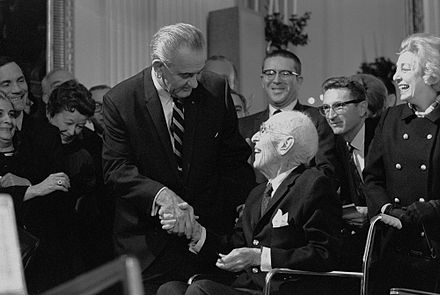 President Lyndon B. Johnson greets Sinclair President Lyndon B. Johnson greets Upton Sinclair.jpg