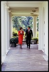 President Ronald Reagan walking and talking with Republican Senator Paula Hawkins of Florida.jpg