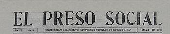 Portada deEl Preso Social, editado por el Comité Pro Presos Sociales de Buenos Aires