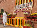 Prime Minister Narendra Modi pays homage to the martyrs who lost their lives during the 2001 Indian Parliament attack.jpg