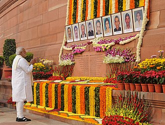 2001 Indian Parliament attack - The Prime Minister of India pays homage to those who lost their lives during the 2001 Indian Parliament attack