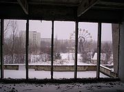 This is the now famous Prypiat Ferris wheel as seen from inside the town's Palace of Culture.