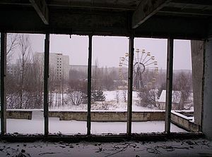 Pripyat - Pripyat Ferris wheel, as seen from the City Center Gymnasium