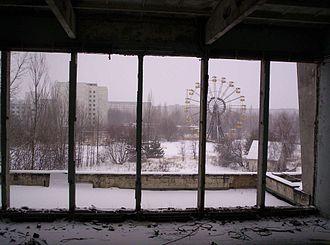 Pripyat - Pripyat Ferris wheel, as seen from the City Center Gymnasium