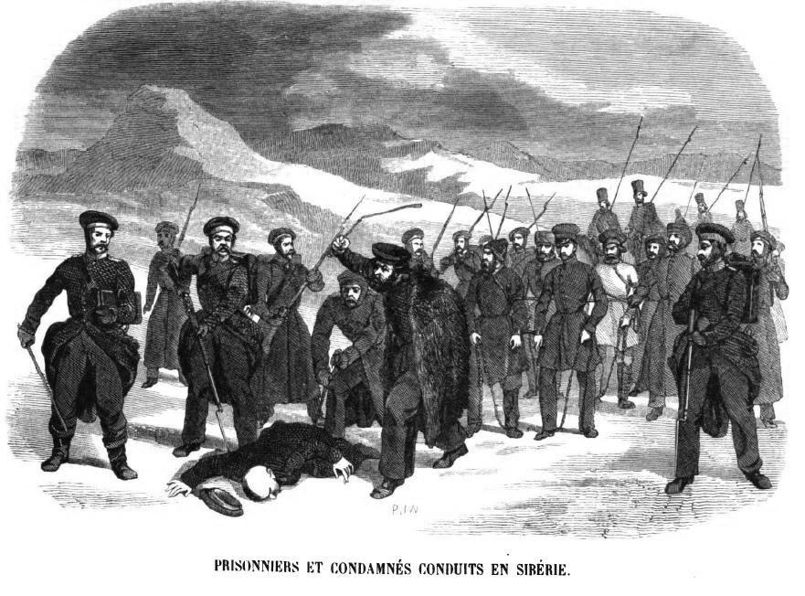 Prisoners and gendarms on the road to Siberia (Geoffroy, 1845)
