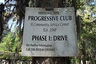 The Progressive Club - Image: Progressive Club Restoration Sign