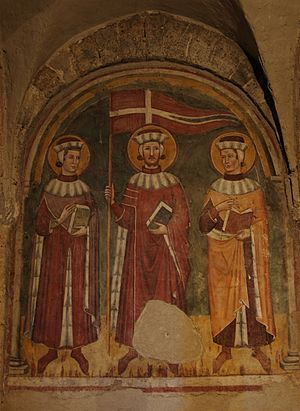 Secundian, Marcellian and Verian - 14th-century fresco of Secundian, Marcellian and Verian in the basilica of San Pietro, in Tuscania.