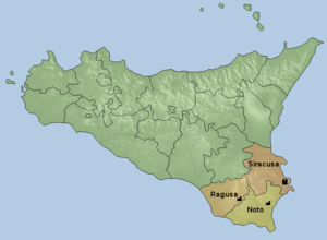 Roman Catholic Archdiocese of Siracusa - Map of the ecclesiastical province of Siracusa