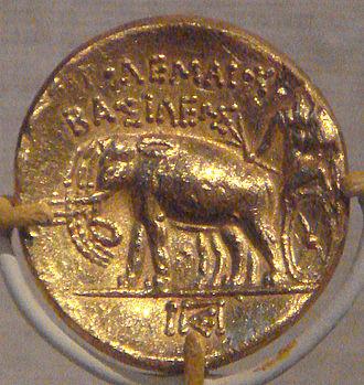 Ptolemy I Soter - Ptolemy I gold stater with elephant quadriga, Cyrenaica
