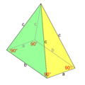 Pyramid of a rectangular base and two pairs of congruent isosceles triangles.png