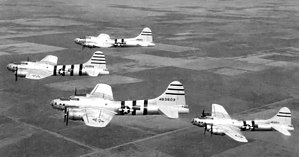 1st Experimental Guided Missiles Group - BQ-17 Flying Fortress Drones over New Mexico, April 1946. Aircraft were in natural aluminum finish with red fuselage and tail stripes. Photo taken from accompanying DB-17G drone controller aircraft. Drone aircraft identified as: 44-83553, 44-83603, 44-83588, 44-85819