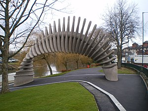 Commemoration of Charles Darwin - The Quantum Leap, an abstract sculpture erected in 2009 in Darwin's birthplace, Shrewsbury, for the bi-centennial of his birth