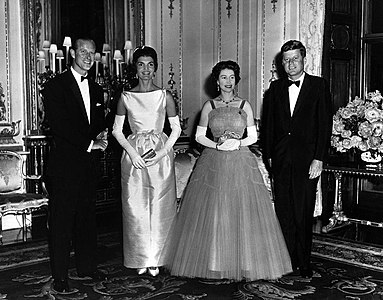 Queen Elizabeth and Prince Philip host Queen's Dinner for President and Mrs. Kennedy.jpg