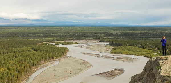 Panoramic view of the Copper River, Glennallen, Alaska, United States.