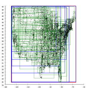 R-tree - Image: R tree with Guttman's quadratic split