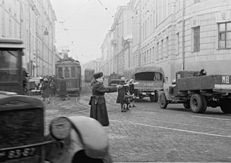 Road Traffic Control Department - The ORUD traffic guard in Moscow, 3 November 1945.