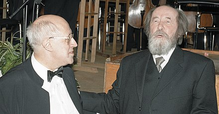 Solzhenitsyn and his long-time friend Mstislav Rostropovich at the celebration of Solzhenitsyn's 80th birthday RIAN archive 6624 Alexander Solzhenitsyn and Mstislav Rostropovich.jpg