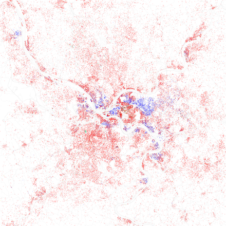 Map of racial distribution in Pittsburgh, 2010 U.S. Census. Each dot is 25 people: White, Black, Asian, Hispanic or Other Race and ethnicity 2010- Pittsburgh (5559872301).png
