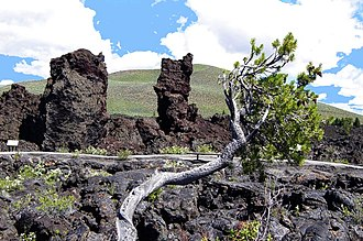 Craters of the Moon National Monument and Preserve - Cinder crags from North Crater on the North Crater Flow
