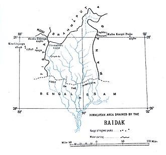 Raidāk River - Catchment area boundary