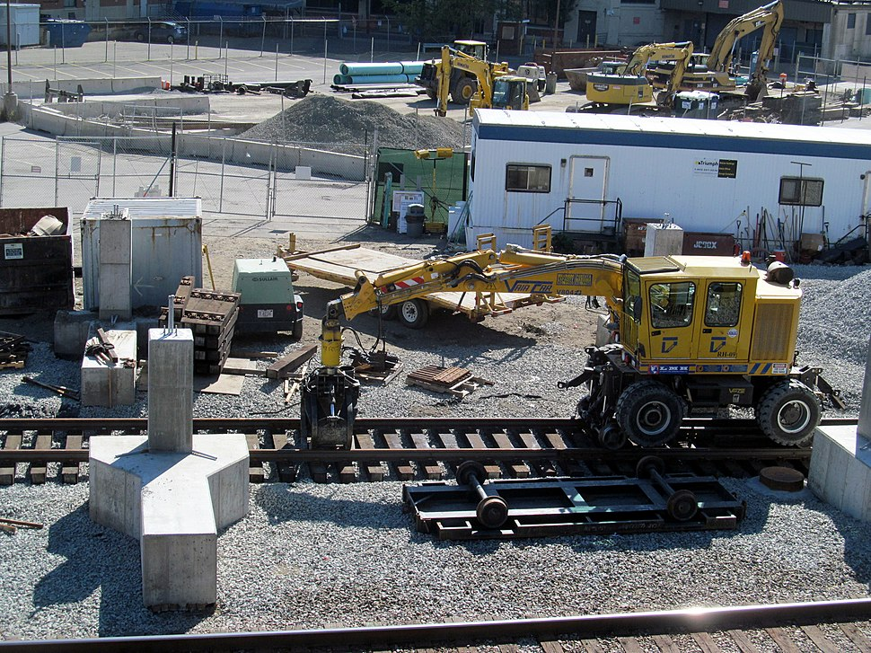 Rail construction vehicle at Yawkey station, 28 September 2013