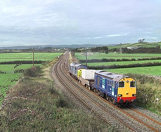 Nuclear flask - Nuclear flask train near the Sellafield nuclear spent fuel reprocessing facility in the UK