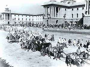 Republic Day (India) - President Rajendra Prasad (in the horse-drawn carriage) readies to take part in the first Republic Day parade on Rajpath, New Delhi, in 1950.
