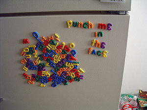 Alphabetical refrigerator magnets.