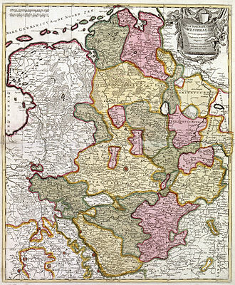 Prince-Bishopric of Münster - 1710 map of the Lower Rhenish–Westphalian Circle by German cartographer Peter Schenk the Elder (1660-1719). The Prince-Bishopric of Münster is the central yellow territory.